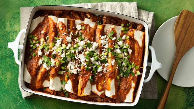 Pulled Pork Tomato Mole Enchiladas