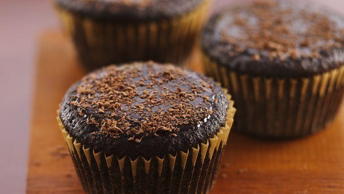 Glazed Dark Chocolate Cupcakes