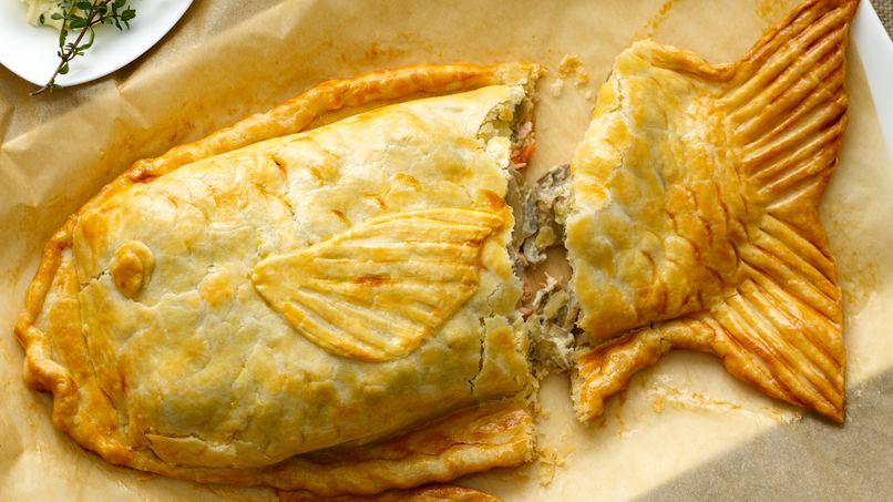 Salmon in Pastry Dough with Mushrooms