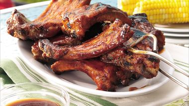 Grilled Ribs with Cherry Cola Barbecue Sauce