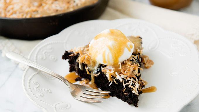 Chocolate Coconut Caramel Skillet Cake