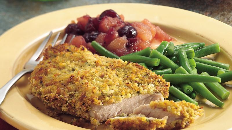 Oven-Fried Pork Chops with Cranberry Applesauce