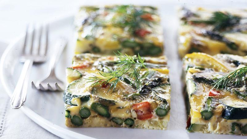 Skinny Asparagus-Zucchini Egg Bake
