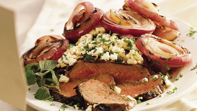 Grilled Steak with Feta