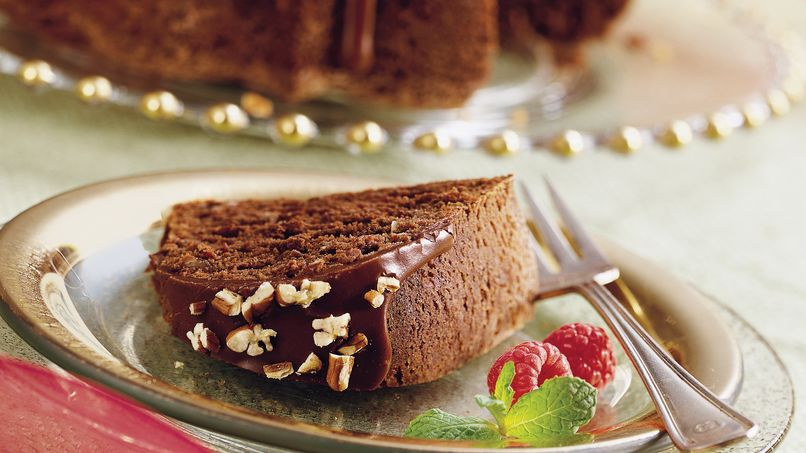Chocolate Pecan Bourbon Cake