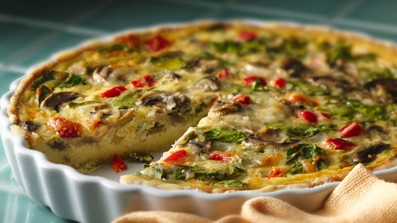 Spinach Mushroom Quiche recipe from Betty Crocker
