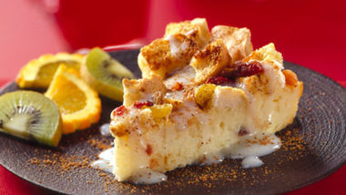 Fruited Bread Pudding with Eggnog Sauce