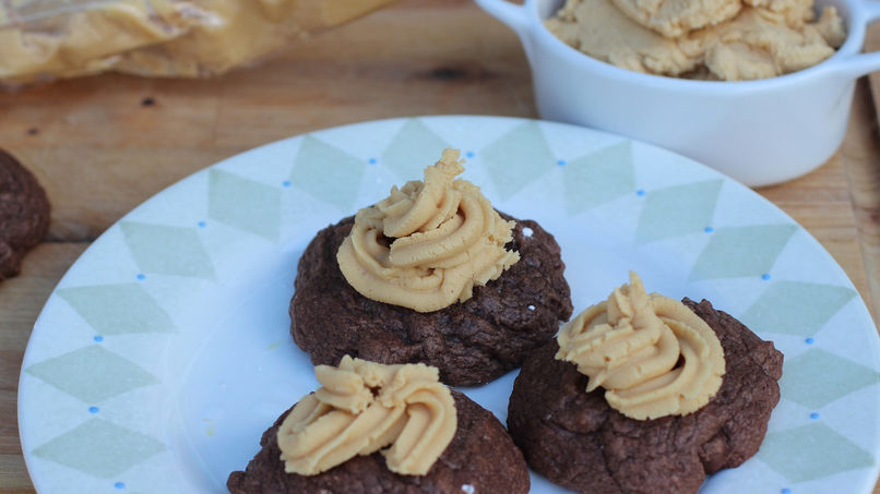 Brownie Cookies with Peanut Butter Frosting