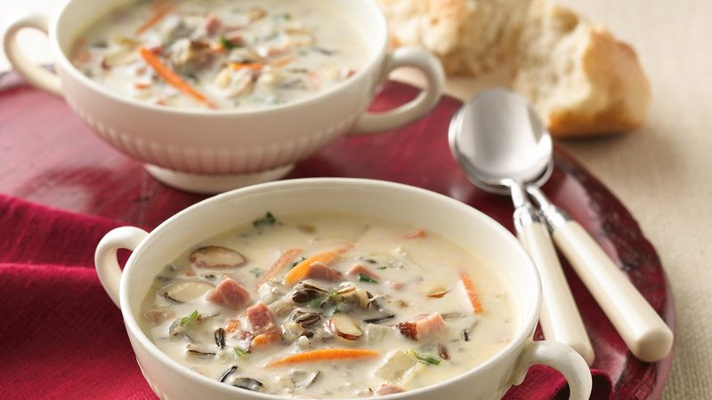Slow-Cooker Creamy Ham and Wild Rice Soup