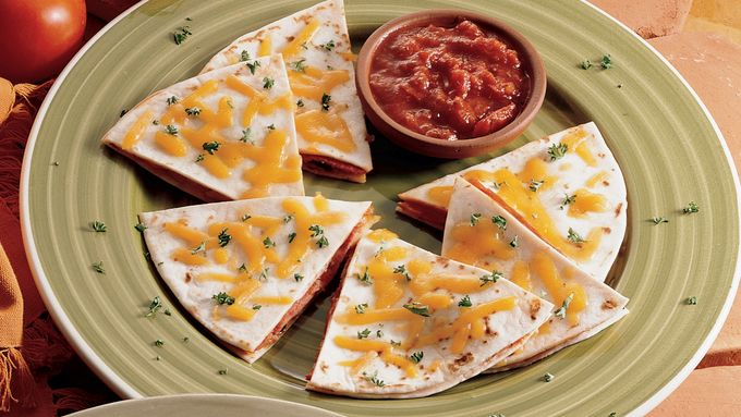 Salami Pizza Quesadillas