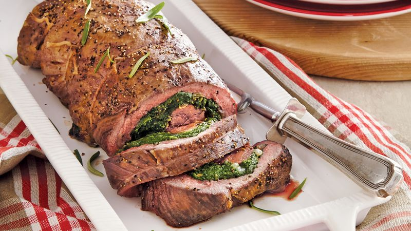Onion-Spinach Stuffed Beef Tenderloin