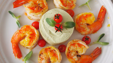 Grilled Shrimp with Avocado Mousse