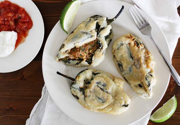 Beer Battered Bean and Cheese Stuffed Poblano Chiles
