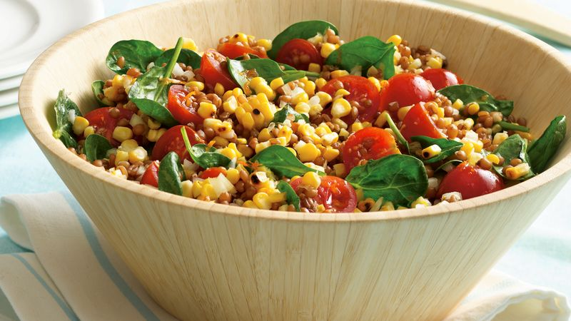 Wheat Berry, Roasted Corn and Spinach Salad