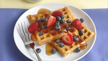 Fruit Topped Whole Grain Waffles