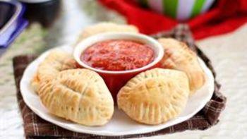 Stuffed Crust Footballs with Pizza Sauce Dip