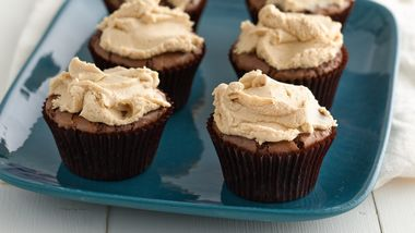 Brownie Cupcakes with Peanut Butter Frosting