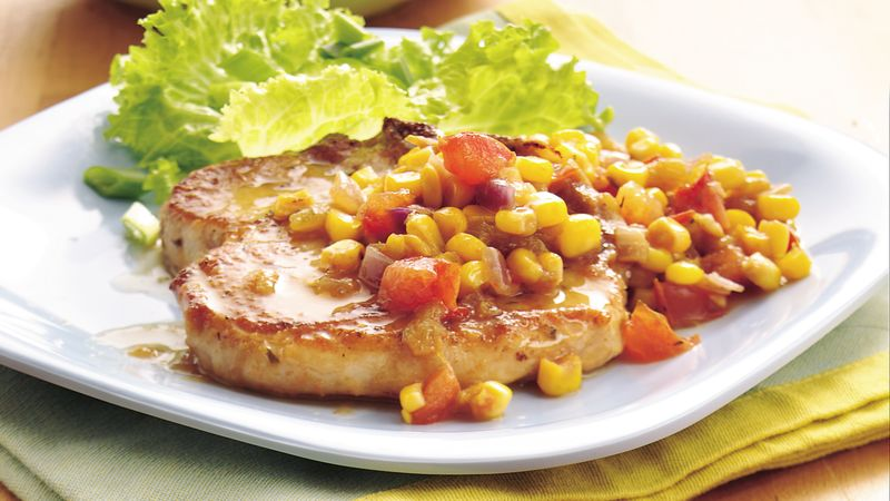 Pork Chops with Green Chile Corn