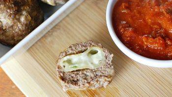 Spicy Pizza Roll Stuffed Meatballs