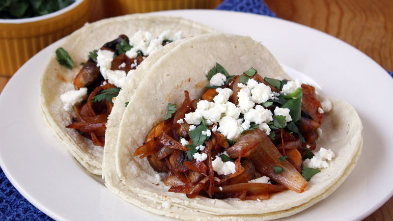 Mushroom and Caramelized Onion Tacos