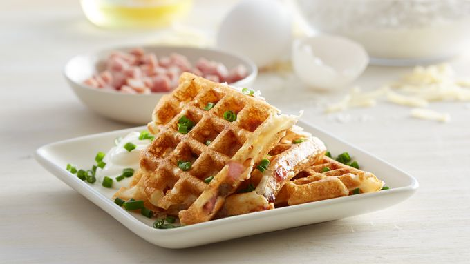 Ham and Swiss Waffles