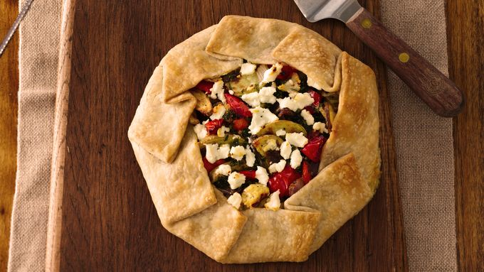 Roasted Vegetable-Goat Cheese Crostata