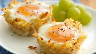 Egg Topped Hash Brown Nests