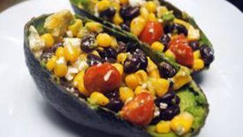 Corn, Black Bean and Avocado Salad in Avocado Shells