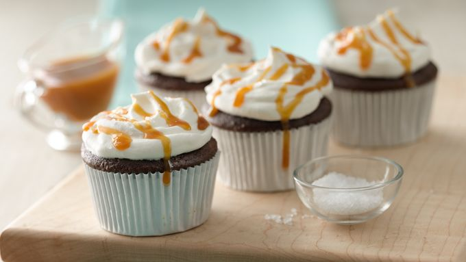 Salted Caramel-Topped Chocolate Cupcakes
