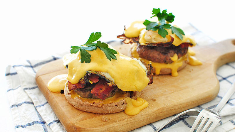 Spicy Eggs Benedict Breakfast Burger