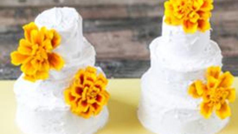 Mini Wedding Cakes with Edible Flowers