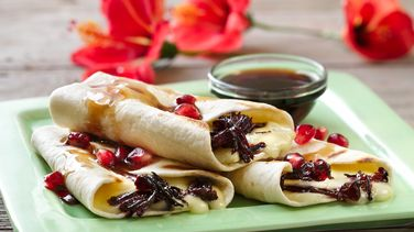 Grilled Hibiscus and Brie Taquitos with Pomegranate and Chipotle Sauce