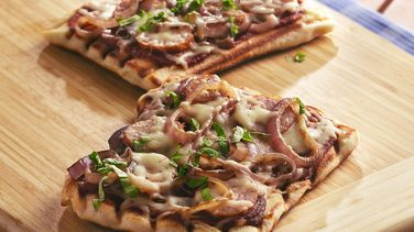 Kielbasa, Caramelized Onion and Basil Pizzas