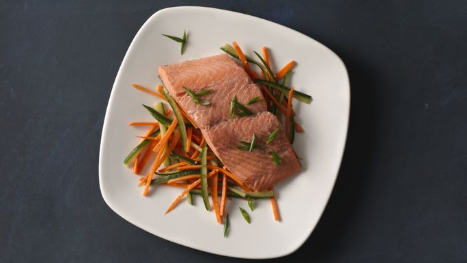 Poached Salmon with Tangy Asian Vegetables