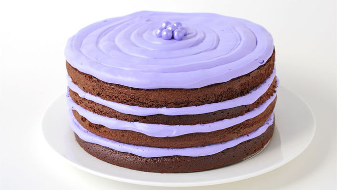 Easy Naked Chocolate Cake with Lavender Frosting