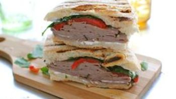 Roast Beef, Roasted Red Pepper and Goat Cheese Panini
