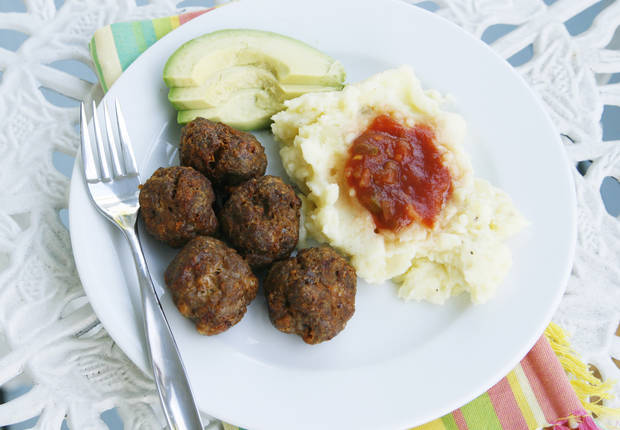... these taco-flavored meatballs with creamy cheddar mashed potatoes