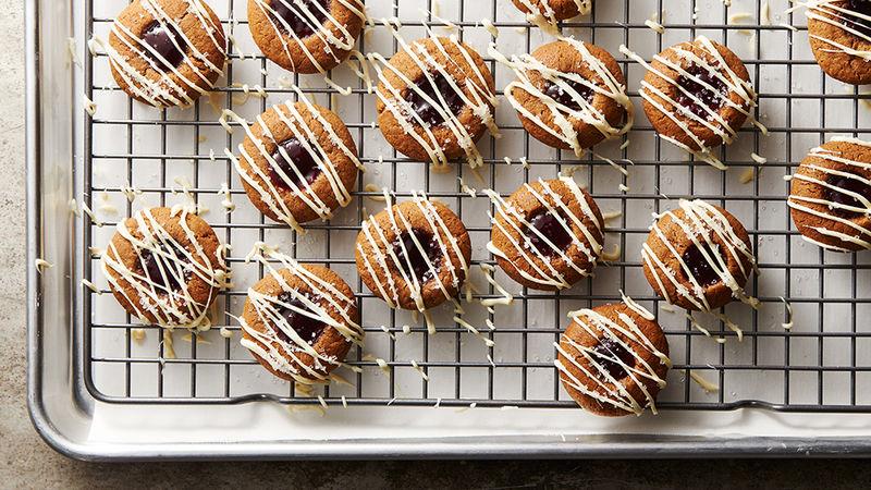 Raspberry-Gingerbread Thumbprint Cookies