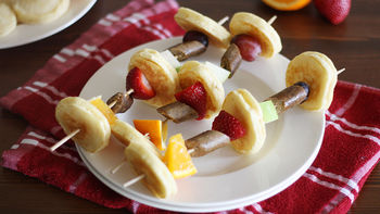 Fruit and Sausage Pancake Kabobs