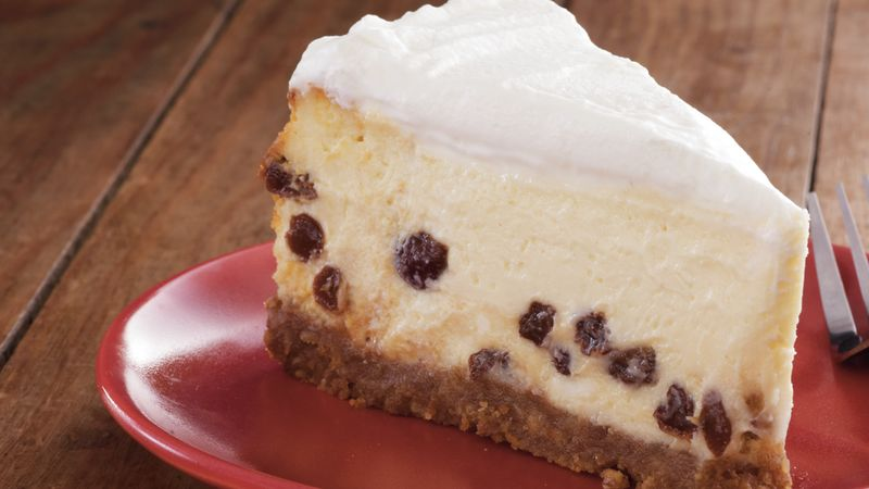 Sour Cream-Rum Raisin Cheesecake recipe from Betty Crocker