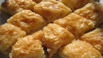 Pineapple Cheesecake Baklava With Mango Liqueur Syrup