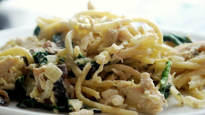 Chicken, Spinach and Mushroom Pasta