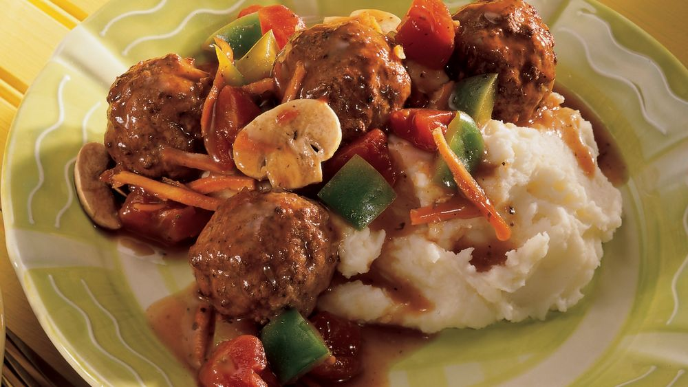 Baked Meatballs with Vegetable Gravy