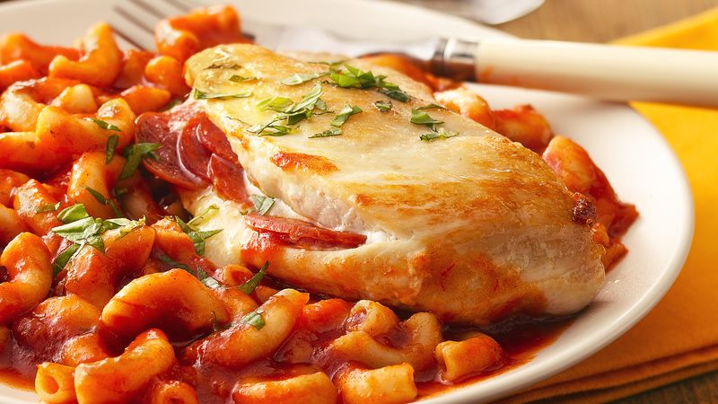Cheesy Pepperoni-Stuffed Chicken