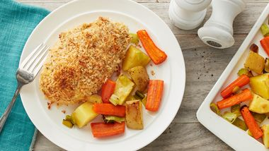 Deviled Chicken with Roasted Vegetables Sheet-Pan Dinner