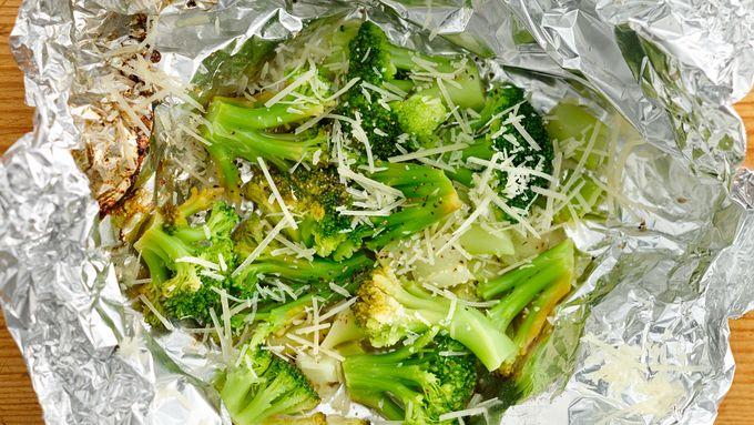 Lemon Parmesan Foil-Pack Broccoli