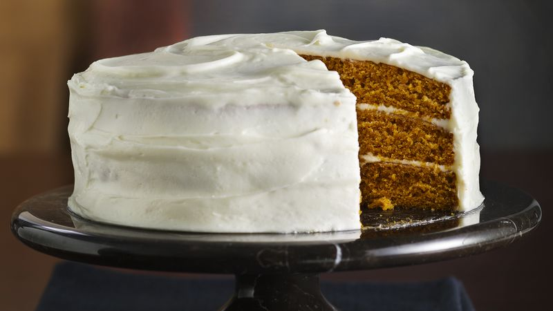 Incredibly Moist Pumpkin-Spice Cake with Cream Cheese Frosting recipe ...