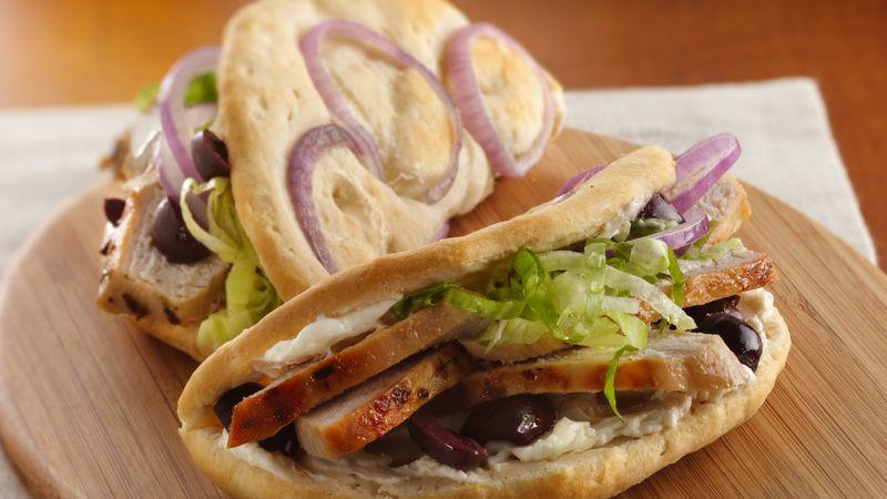 Greek Chicken Faux-coccia Sandwiches