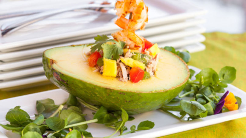 Shrimp Cocktail in Avocado Halves with Tuna and Mango Salad