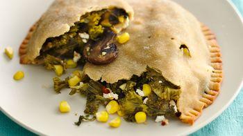 Gluten-Free Garlicky Mushroom, Kale and Goat Cheese Calzones